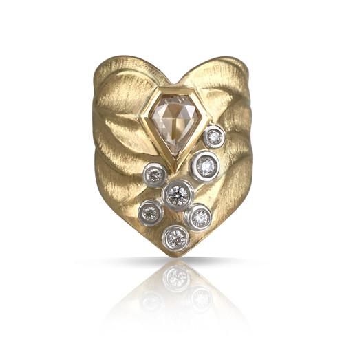 K.Mita's Chevron Ring | Champaign Diamonds and 18k Yellow Gold
