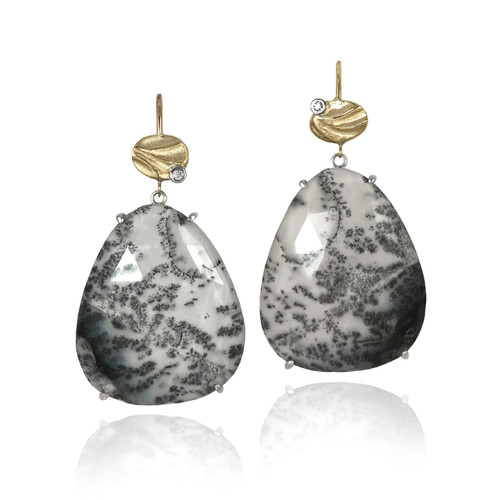 K.Mita's Vermont Earrings | Dendritic opal/quartz doublets