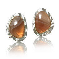 K.Mita's classic Pebble Stone Earrings | Striped Agate