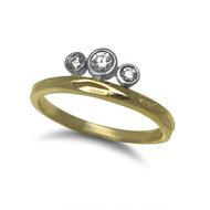 Tiara Ring | 14K yellow and white, Diamond | Handmade Fine Jewelry by K.Mita