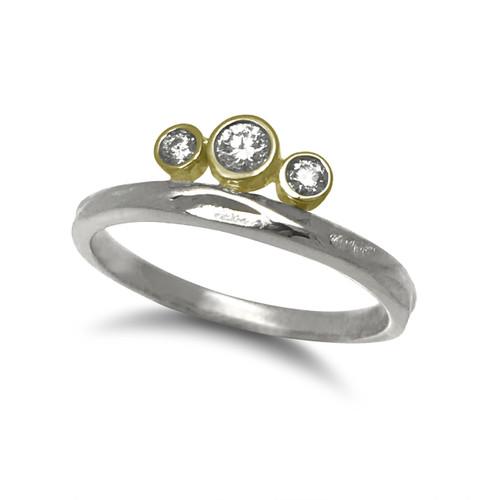 K.Mita's Mixed Metal Tiara Ring   Argentium Silver and Diamonds