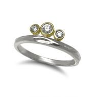 K.Mita's Mixed Metal Tiara Ring | Argentium Silver and Diamonds | Handmade Modern Jewelry