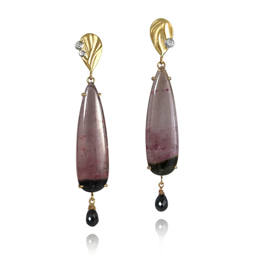 Gatsby Earrings from K.Mita | Pink Tourmaline and Black Diamond Briolettes