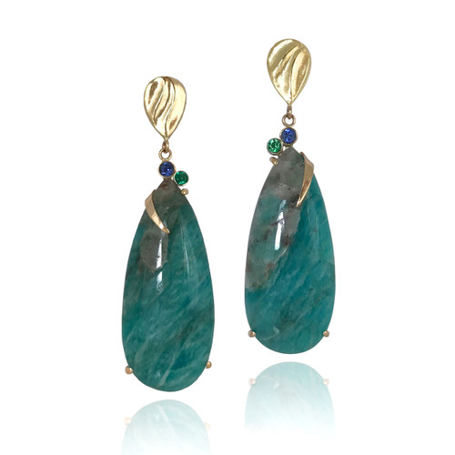 K.Mita's Lagos Earrings | Green-blue Amazonite