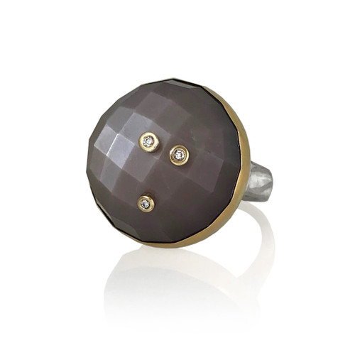 K.Mita's Starry Moon Ring | Faceted Chocolate Moonstone