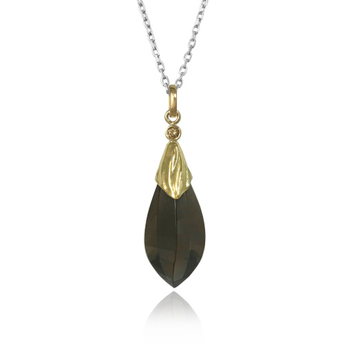 Aspen Pendant from K.Mita | Smoky Quartz, Gold, Silver | Handmade Fine Jewelry