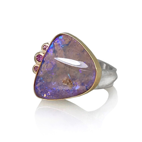 Colorades Ring by K.Mita | Pink Boulder Opal