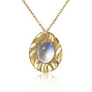 K.Mita's Moonstone Petite Pebble Pendant | Gold | Handmade Fine Jewelry