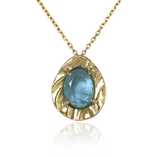 K.Mita's Contemporary Aquamarine Petite Pebble Pendant