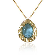 K.Mita's Contemporary Aquamarine Petite Pebble Pendant