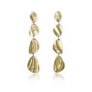 Pebble Dangle Earrings handmade by K.Mita | Yellow Gold and Diamonds