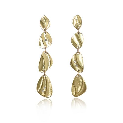 Pebble Dangle Earrings handmade by K.Mita | Yellow Gold and Diamonds
