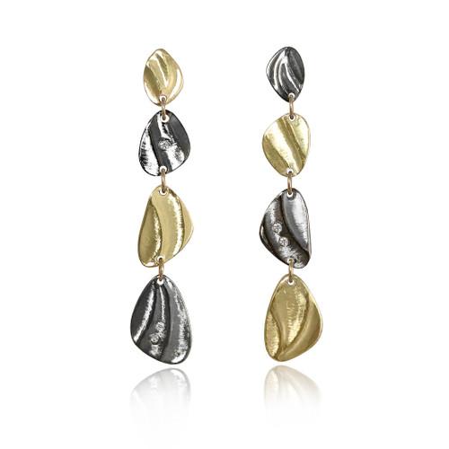 K.Mita handmade Pebble Dangle Earrings | Yellow Gold and Oxidized Sterling Silver | Diamonds
