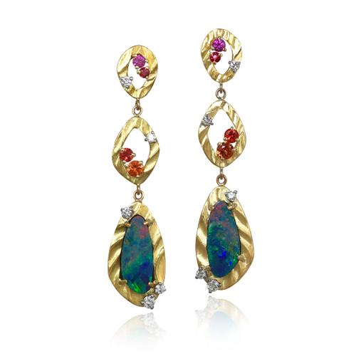 K.Mita's contemporary Vivian Earrings | Opal | Sapphires
