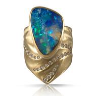 Blue Sea Opal Ring by K.MITA | Handmade Modern Jewelry