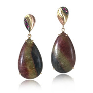 Stripe Earrings by K.MITA | Handmade Modern Jewelry | 14K, Tourmaline and Ruby