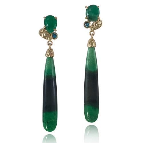Green Garnet Color Block Earrings by Keiko Mita   Bi-Color Green Garnet, Emerald, Gold   Handmade Fine Jewelry