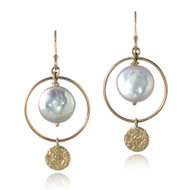 Halo Earrings | Gold and Coin Pearl | Handmade Fine Jewelry by K.MITA