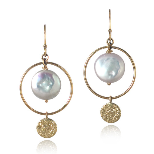 Halo Earrings   Gold and Coin Pearl   Handmade Fine Jewelry by K.MITA