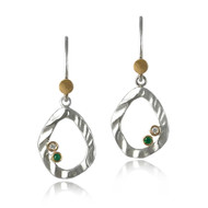 Petite Pebble Earrings | Sterling Silver and Gold with Stone Accents| Handmade Modern Jewelry by K.MITA