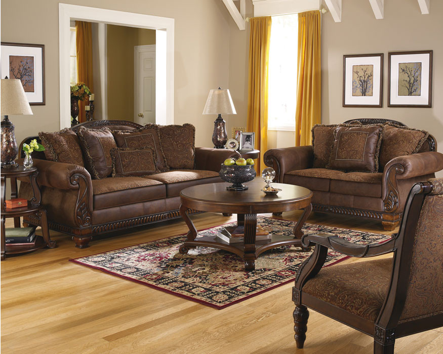 Terrific Ashley Wilmington Walnut Sofa Set Home Interior And Landscaping Palasignezvosmurscom