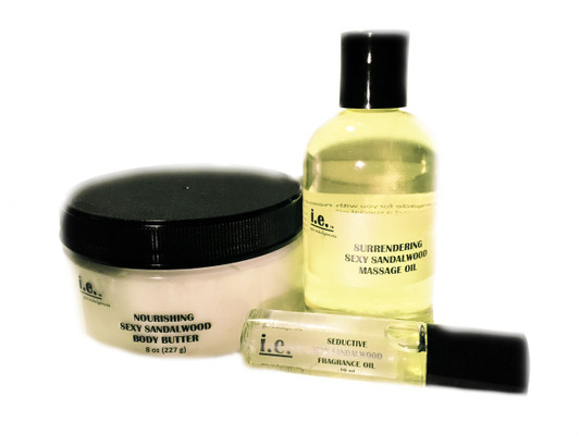 SCENT-SATIONAL SET:   This set consists of four items including our Nourishing Body Butter 8 oz., Surrendering Massage Oil 4 fl. oz., Seductive Fragrance Oil .10 ml., and Scented Sachet Bag.   Suitable for women, children, and men.