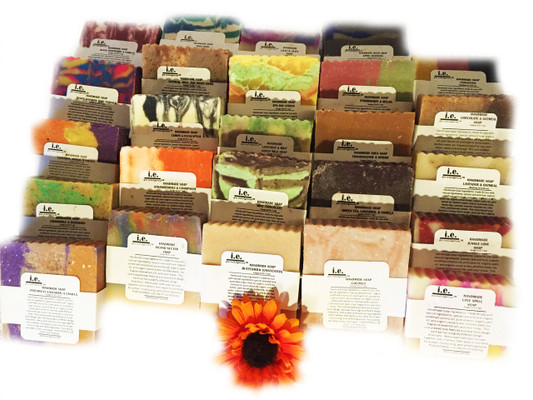 HANDMADE SOAPS: Our all natural soap is made with love.  We chose organic ingredients that are balanced for their cleansing and moisturizing properties.  This cold pressed soap features a unique block design; each bar has a slightly different design.  Choose the fragrant that best suits your taste.  Directions:  Wet a wash cloth and rub soap together until it lathers, then apply to your body for a clean, moisturizing, and refreshing aroma.  FOR EXTERNAL USE ONLY.  Ingredients: organic unrefined coconut oil, pure olive oil, organic palm oil, pure castor oil, organic cocoa butter, distilled water, sodium hydroxide (lye), fragrance oils, essential oils, and color micas. Some soaps also include shea butter, apricot kernel oil, palm oil, avocado oil, neem seed oil, goats milk, butter milk, beer, pure cacao, oatmeal, lavender petals, chamomile flakes, crushed almonds, green tea powder, green tea leaves, and seaweed powder  SELECT THE SCENT TO SEE ANY ADDITIONAL  INGREDIENTS OR ADDITIVES USED FOR OUR HANDMADE SOAPS.  Size:  5.55-7 oz depending upon the cut of the soap.  Customers:  Pregnant women should consult their physician before using any products containing certain essential oils. These are natural soaps, which are cured a minimum of six weeks before they are sold. Designs vary by bar. Additional soaps scents become available every two months.  Also see our novelty bars; 5-7 oz.  Soap dish (not pictured); or our Cleansing Soaps.  Soap dish may be purchased separately in Accessories.  Each soap is beautifully packaged. For a lasting bar, keep in a dry cool place.  Do not leave sitting in water.  Made in Bayside, NY
