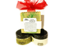 PURE JOY 4oz GIFT SET:  This set was put together for our customers to cleanse, exfoliate, and moisturize.  This gift set consists of 3 items, beautifully wrapped in an organza bag.  Receive one each of the following items:  (1) Nourishing Body Butter (4 oz); (1) Handmade Soap (Large 7 oz); (1) Stimulating Sugar Scrub (5.5 oz).  Customers:  FOR EXTERNAL USE ONLY.  Click on the images for detailed descriptions for each item included in this pack.   See our other I.E. Spa Indulgences Gift Sets.  Although natural and organic ingredients are used, it is possible for customers with sensitive skin or allergies to have a reaction to scents or nut butters used.  Always do a skin test on the inside of your forearm to ensure you do not have an adverse reaction to the product.