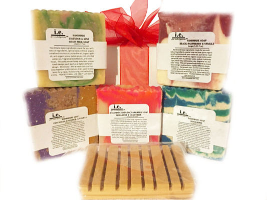 HANDMADE SOAPS: Our all natural soap is made with love.  We chose organic ingredients that are balanced for their cleansing and moisturizing properties.  The soap features a unique block design of hot processed and cold processed soap; each bar has a slightly different design.  Choose the fragrant that best suits your taste.  Directions:  Wet a wash cloth and rub soap together until it lathers, then apply to your body for a clean, moisturizing, and refreshing aroma.  FOR EXTERNAL USE ONLY.  Ingredients: organic unrefined coconut oil, pure olive oil, organic palm oil, pure castor oil, organic cocoa butter, distilled water, sodium hydroxide (lye), fragrance oils, essential oils, and color micas. Some soaps also include shea butter, apricot kernel oil, palm oil, avocado oil, neem seed oil, goats milk, butter milk, beer, pure cacao, oatmeal, lavender petals, chamomile flakes, crushed almonds, green tea powder, green tea leaves, and seaweed powder  SELECT THE SCENT TO SEE ANY ADDITIONAL  INGREDIENTS OR ADDITIVES USED FOR OUR HANDMADE SOAPS.  Size:  Approximately 7 oz depending upon the cut of the soap.  Customers:  Pregnant women should consult their physician before using any products containing certain essential oils. These are natural soaps, which are cured a minimum of six weeks before they are sold. Designs vary by bar. Additional soaps scents become available every two months.  Also see our novelty bars; 5-7 oz.  Soap dish (not pictured); or our Cleansing Soaps.  Soap dish may be purchased separately in Accessories.  Each soap is beautifully packaged. For a lasting bar, keep in a dry cool place.  Do not leave sitting in water.  MADE IN YONKERS, NY