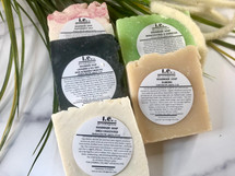 HANDMADE SOAPS: Our all natural soap is made with love.  We chose organic ingredients that are balanced for their cleansing and moisturizing properties.  This variety pack features a combination of hot-processed and cold-processed soaps that are in a unique block, circle, or design; each bar is slightly different.  We assembled a combination of soaps so you can explore the variety of options available to you in our soap collection. Directions:  Wet a wash cloth and rub soap together until it lathers, then apply to your body for a clean, moisturizing, and refreshing aroma.  FOR EXTERNAL USE ONLY.  Some of our Ingredients include: organic unrefined coconut oil, pure olive oil, organic palm oil, pure castor oil, organic cocoa butter, distilled water, sodium hydroxide (lye), fragrance oils, essential oils, color micas, shea butter, apricot kernel oil, palm oil, avocado oil, neem seed oil, goats milk, butter milk, beer, pure cacao, oatmeal, lavender petals, chamomile flakes, crushed almonds, green tea powder, green tea leaves, and seaweed powder  Size:  3.5-4.5 oz depending upon the cut of the soap.  Customers:  Pregnant women should consult their physician before using any products containing certain essential oils. These are natural soaps, which are cured a minimum of two-six weeks before they are sold.   Also see our large soaps.  The soaps are beautifully packaged. For a lasting bar, keep in a dry cool place.  Do not leave sitting in water.  Made in Yonkers, NY