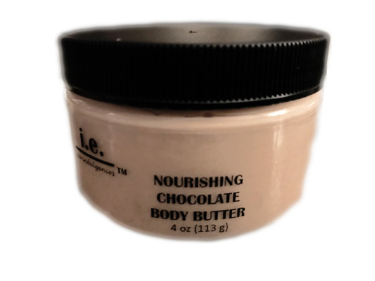 """CHOCOLATE VEGAN BODY BUTTER:  This formulation of our famous Body Butter is VEGAN and ALMOND-FREE for all of those with almond allergies.  This chocolate body butter was first introduced during the holiday season and after Valentine's Day, we decided to offer it as part of our regular line for a limited time.  Nourish your body with the buttery goodness.  A little goes a long way to provide the moisture your body craves.  It is made with the finest natural ingredients that your body will love. Enjoy treating yourself to this nourishment daily.  You will not only enjoy how your skin feels but you are sure to have people saying to you, """"wow, you smell good enough to eat! what is that you are wearing?""""  It is sure to provide your skin with the nourishment it needs (in all climates) without leaving your skin feeling greasy.  It is a customer favorite!  Ingredients:  Proprietary blend of five natural butters including pure african shea butter, mango butter, monoi butter, cocoa butter, and hemp butter, beneficial oils of organic unrefined coconut oil, argan oil, and hemp seed oil; carnauba wax, aloe vera, vitamin E, pure cacao, and fragrance oils.  Directions:  Apply a small amount of the nourishing body butter into the palm of your hand, rub together, apply to the desired body part, and massage into skin. FOR EXTERNAL USE ONLY."""