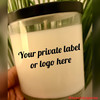 Your company's logo/label will appear here.    Email us (ie.spa.indulgences@gmail.com) a jpeg of your logo/label or message.  We will send you a picture of the sample candle.    At checkout, enter the scent.  Allow 7 days for processing.