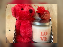 This Love-able Bear Box features a cute little teddy bear, your choice of our LOVE candle, our pretty sexy fragrance oil, and a heart-scented sachet beautifully packaged in a gift box.
