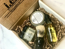 This BEARD Box is all about grooming and moisturizing the beard.  This box includes the following:  -a shaving soap, -shaving brush, -beard balm, and -beard oil