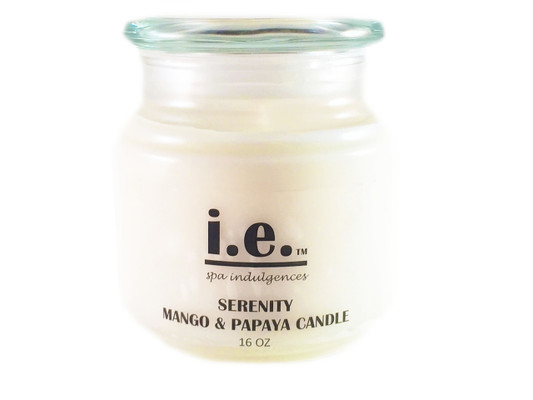 SERENITY SCENTED CANDLE:  This fragrant candle—when lit—provides a scintillating aroma while providing a relaxing environment for you to relieve stress, enjoy a private moment, or meditate.  Ingredients:  Each candle is hand poured with 100 % soy wax, essential oils/fragrance oils, and cotton wicks.  Some candles may have additive coloring and embellishments.  Size:  16 oz.  Available in a variety of scents.  Each candle should only be burned for up-to two hours at a time.  Trim the wick prior to re-lighting the candle.  Burn on heat-resistant surfaces.  CAUTION:  Always use caution when lighting a candle.  Do not keep any candle lit that is unattended.  Keep out of reach of children and away from pets.  Keep away from items that may catch fire.  Keep clear from drafty areas.