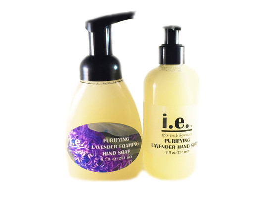 PURIFYING LIQUID HAND SOAP:  This light moisturizing liquid soap will cleanse your hands while applying a bit of moisture to the skin.  FOR EXTERNAL USE ONLY.  Ingredients:  Made with pure castile soap, distilled water, essential oils, sweet almond oil, fragrance and essential oil modifier and vitamin E.  Size:  Available in two sizes:  Foaming bottle 8.5 fl. oz. (251 ml) or Pump bottle 8 fl. oz. (251 ml).  Shake well before use.