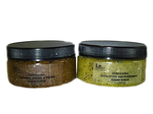 STIMULATING SUGAR SCRUB:  Remove the unwanted dead skin with this sugar scrub that is gentle enough to use once or twice a week as a face exfoliate or on the entire body for those with sensitive skin.  This sugar scrub may be used on the driest parts of the body including elbows, feet, and knees.  Where applied, the desired body part will be left moisturized and feeling soft.  Ingredients: Made with organic raw sugar, raw organic unrefined coconut oil, essential oils, green tea leaves, and vitamin E.  Green tea powder is added to the eucalyptus and mint scent.  Size:  11 oz. (312g).  Also available for a party favor is our Stimulating Sugar Scrub Mini (2 oz.).  Ask about bulk purchases and discount prices.  Customers:  You may also enjoy using this blend on hands and feet prior to using the Soothing Body Bar Scrub. You will feel a nice tingling sensation from the eucalyptus and mint scent.  Pregnant women should consult their physician before using any products containing peppermint essential oils.  FOR EXTERNAL USE ONLY.