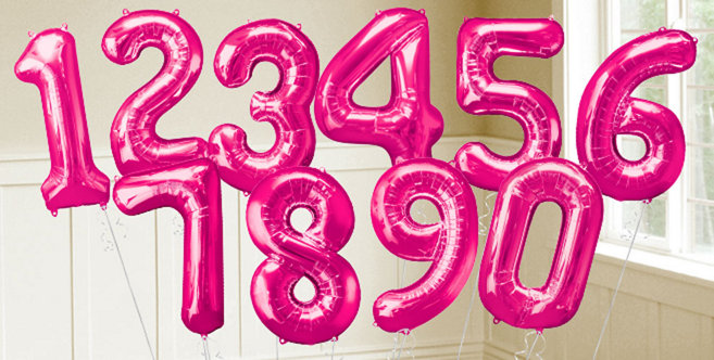 Pink Number Balloons