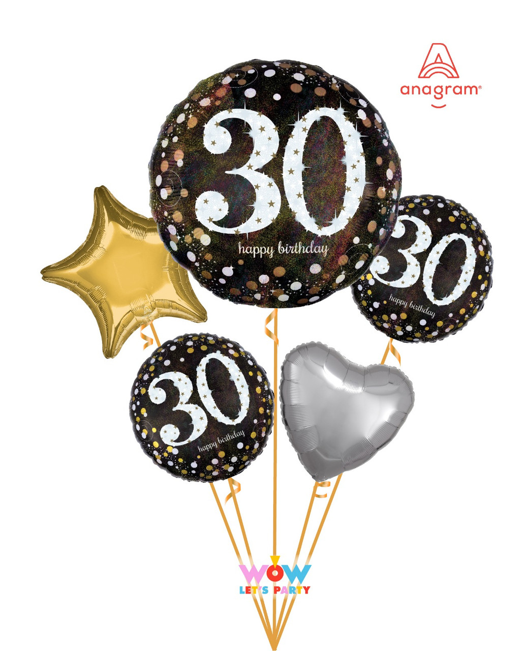Sparkling 30th Birthday Balloon Bouquet Wow Let S Party