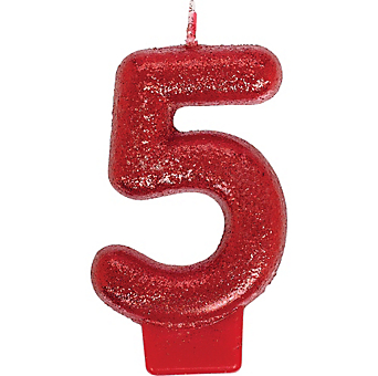 Glitter Red Number 5 Birthday Candle Image 1