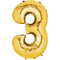 """35"""" Decorator Number 3 Balloon - Gold P50"""