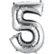 """35"""" Decorator Number 5 Balloon - Silver P50"""