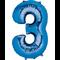 "35"" Decorator Number 3 Balloon - Blue P50"