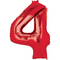 "35"" Decorator Number 4 Balloon - Red P50"