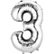 """35"""" Decorator Number 3 Balloon - Silver P50"""