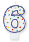 176006 Blue Outline Number 6 Birthday Candle