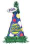 "250013 13"" Bright Birthday Happy Birthday Cone Hat w/Foil Fringe"