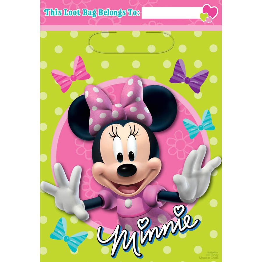 MINNIE MOUSE Happy Helpers FAVOR BAGS 8 ~ Birthday Party Supplies Treat Loot