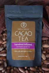 "A truly elegant combination of warm, rich, and seductive flavors.  The traditional pairing of hazelnut and chocolate compliment perfectly to enhance the natural flavors of Heirloom Cacao Tea. Experience the rich aroma of this tea as it lures you in for a long and savory sip. Euphoric and relaxing, this seductive tea will warm your senses and soothe the soul.  Using our knowledge as farm to bar chocolate makers, we have crafted a delicate cacao tea using our rare, heirloom Arriba Nacional beans. Imported directly from our farmer in the Los Rios region of Ecuador, this exotic and rare bean is roasted to release the beautiful flavors within. This Heirloom Cacao Tea uses both roasted nibs and theobromine-rich shells to create a delicate tea with lovely chocolate nuances.  Cacao Benefits:  Rich in antioxidants, amino acids, and magnesium Cacao contains Theobromine, said to give a euphoric feeling Cacao contains Anandamide, an endorphin, whose name appropriately translates as ""bliss"" Brew, sip and enjoy the bliss"