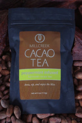 "Refreshing and crisp, this infusion of peppermint flavors is playful on the palette.  Invigorate the senses with all natural peppermint flavors combined with a unique blend of roasted cacao nibs and theobromine-rich shell. The chocolate undertones play jubilantly with the peppermint sensations to create a delicious pairing in this Heirloom Cacao Tea. Made from the same 100% single source Ecuadorian cacao beans used in our artisan chocolate, this tea has a delicate cacao flavor with beautiful aromas.  Using our knowledge as farm to bar chocolate makers, we have crafted a delicate cacao tea using our rare, heirloom Arriba Nacional beans. Imported directly from our farmer in the Los Rios region of Ecuador, this exotic and rare bean is roasted to release the beautiful flavors within. This Heirloom Cacao Tea uses both roasted nibs and theobromine-rich shells to create a delicate tea with lovely chocolate nuances.  Cacao Benefits:  Rich in antioxidants, amino acids, and magnesium Cacao contains Theobromine, said to give a euphoric feeling Cacao contains Anandamide, an endorphin, whose name appropriately translates as ""bliss"" Brew, sip and enjoy the bliss"